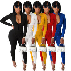 Casual Solid Front Zipper Long Sleeve Tight Jumpsuits AIL-138