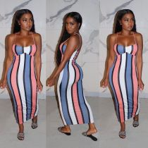 Plus Size Sexy Striped Printed Spaghetti Strap Dress YJF-8347
