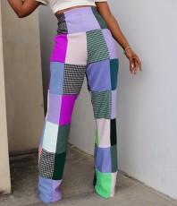 Colorful Plaid High Waist Boot Cut Pants MDF-5186