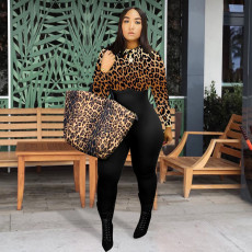 Casual Leopard Print Long Sleeve Jumpsuits WAF-7109