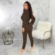 Casual Solid Long Sleeve Two Piece Pants Set SMR-9792