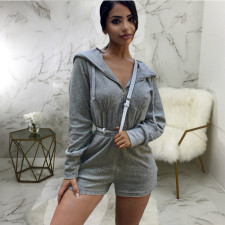 Casual Solid Hooded Long Sleeve Rompers SMR-9723