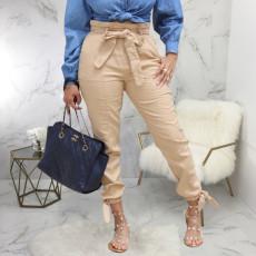 Casual Mid Waist Sashes Long Pants SMR-9812