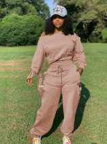 Plus Size Solid Long Sleeve Hole Pants 2 Piece Suits MAE-2071