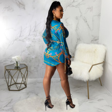 Plus Size Sexy Printed Long Sleeve Shirt Dress Without Chain SMR-9820