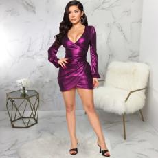 Plus Size Sexy V Neck Long Sleeve Slim Fit Mini Dress SMR-9861