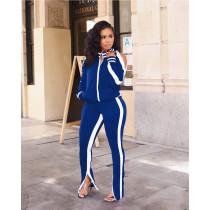 Casual Cold Shoulder Split Pants Two Piece Suits SMR-9728