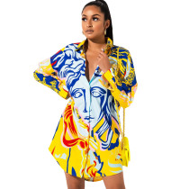 Plus Size Casual Printed Long Sleeve Shirt Dress SMR-9784