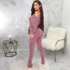 Solid Long Sleeve Sashes One Piece Jumpsuits SMR-9869