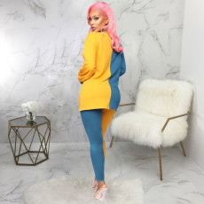 Contrast Color Long Sleeve Two Piece Pants Set SMR-9752