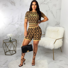 Casual Printed Short Sleeve Two Piece Shorts Set SMR-9818