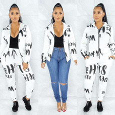 Casual Printed Hooded Zipper Coat Pants 2 Piece Sets CYA-8782