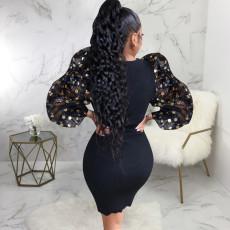 Elegant Patchwork Puff Sleeve Bodycon Dress SMR-9835