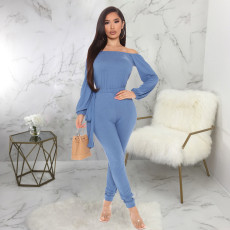 Solid Slash Neck Long Sleeve One Piece Jumpsuits SMR-9796