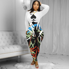 Sexy Fashion Spades Q Print Long Sleeve Jumpsuit YSYF-7263