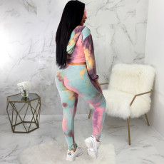 Tie Dye V Neck Hooded Long Sleeve 2 Piece Suits SMR-9811