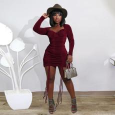 Plus Size Velvet High Waist Ruched Long Sleeve Mini Dress YIY-5238
