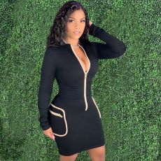 Sexy Front Zipper Long Sleeve Mini Dress YM-9260