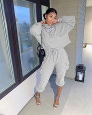 Casual Solid Long Sleeve Two Piece Pants Set YUF-9050
