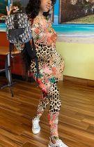 Fashion Casual Leopard Print Long Sleeve Jumpsuit LJF-6020
