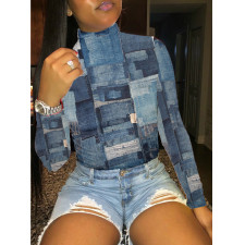 Plus Size Turtleneck Long Sleeve Pullover Tops BLI-2196