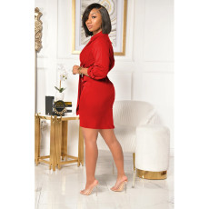 Plus Size Sexy Solid V Neck Tie Up Long Sleeve Dress SHE-7231