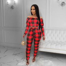 Sexy Plaid Slash Neck Long Sleeve 2 Piece Suits SHE-7908