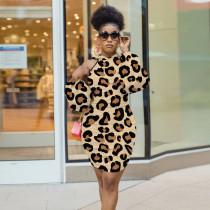 Sexy Leopard Off Shoulder High Waist Bodycon Dress YD-8326