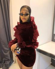 Sexy Velvet Mesh Long Sleeve Mini Dress YWF-1833