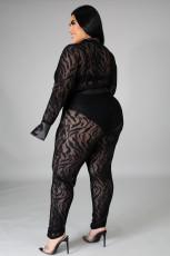 Plus Size 5XL Mesh Bodysuit And Pants 2 Piece Sets OSM2-5271