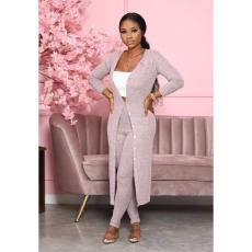 Solid Full Sleeve Long Cloak+Pants Two Piece Sets WY-6727