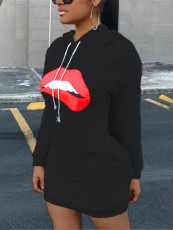 Casual Lip Print Sweatshirt Dress XYMF-8046