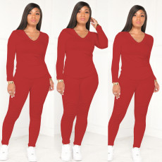 Casual Solid V Neck Long Sleeve Two Piece Pants Set WY-6711