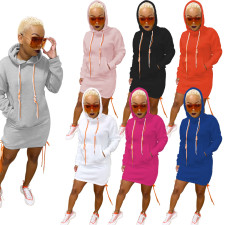 Solid Drawstring Pocket Hoodies Dress WY-6677