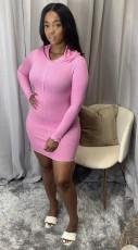 Casual Long Sleeve Hooded Mini Dress WY-6717