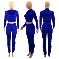 Solid Color Velvet Long Sleeve Top And Stacked Pants Two Piece Set SZF-6066