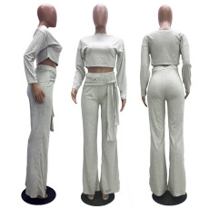 Solid Color Long Sleeve Crop Top And Lace-Up Wide Leg Pants Two Piece Set ATDF-5106