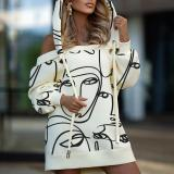 Fashion Sexy Strapless Abstract Printed Mid-length Hoodie ATDF-5112