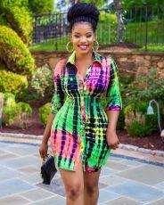 Printed Fashion Lapel Shirt Dress ATDF-5103