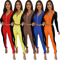 Contrast Color Patchwork Zipper Two Piece Suits TR-1086