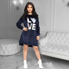 Casual Loose Velvet Sequined Sweatshirt Dress HMS-5177
