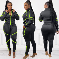 Plus Size Casual Sportswear Zipper Two Piece Suits WAF-7084
