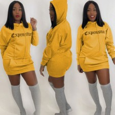Letter Printed Casual Hoodies Dress WUM-928