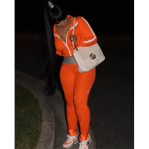 Casual Sports Solid Color Splice Zipper Long Sleeve Pants Two Piece Set WXF-8821