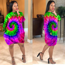 Casual Loose Long Sleeve Tie Dye Printed Dress LSD-8398