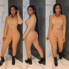 Tight Solid Color Long Sleeve Pants Two Piece Set OXF-8011