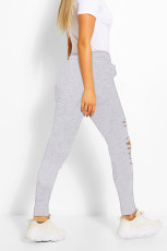 Casual Solid Hole Hollow Long Sweatpants LSD-8569