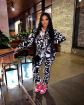 Fashion Casual Print Long Sleeve Shirts And Pants Two Piece Set XMF-026