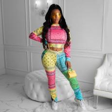 Fashion Slim Printed Long Sleeve And Hem Zipper Split Trousers Two Piece Set SIF-0021