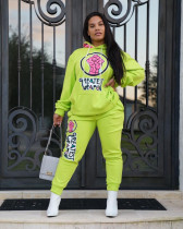 Casual Printed Hoodies Pants Two Piece Sets MX-1169